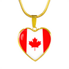 Canadian Flag - 18k Gold Finished Heart Pendant Luxury Necklace
