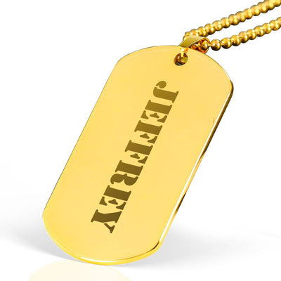 Jeffrey - 18k Gold Finished Laser Engraved Dog Tag Necklace