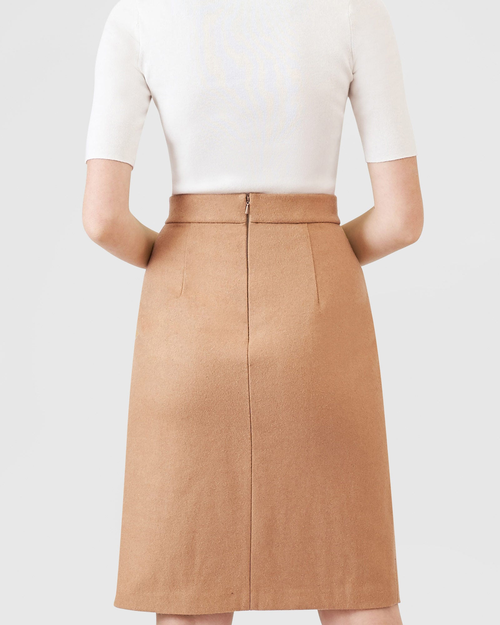 Wool Crossover Skirt - Beige