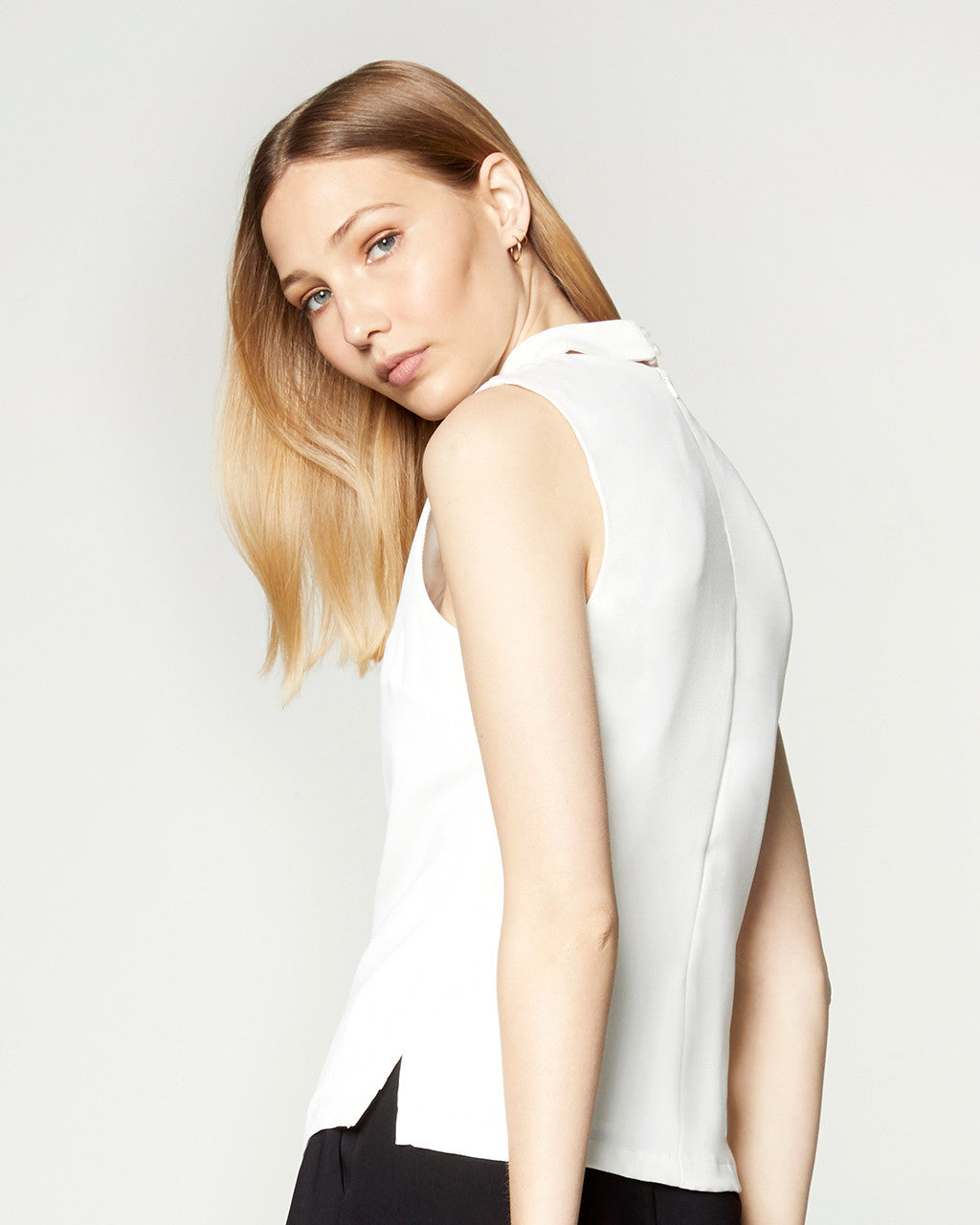 Cut Out Collared Top - White