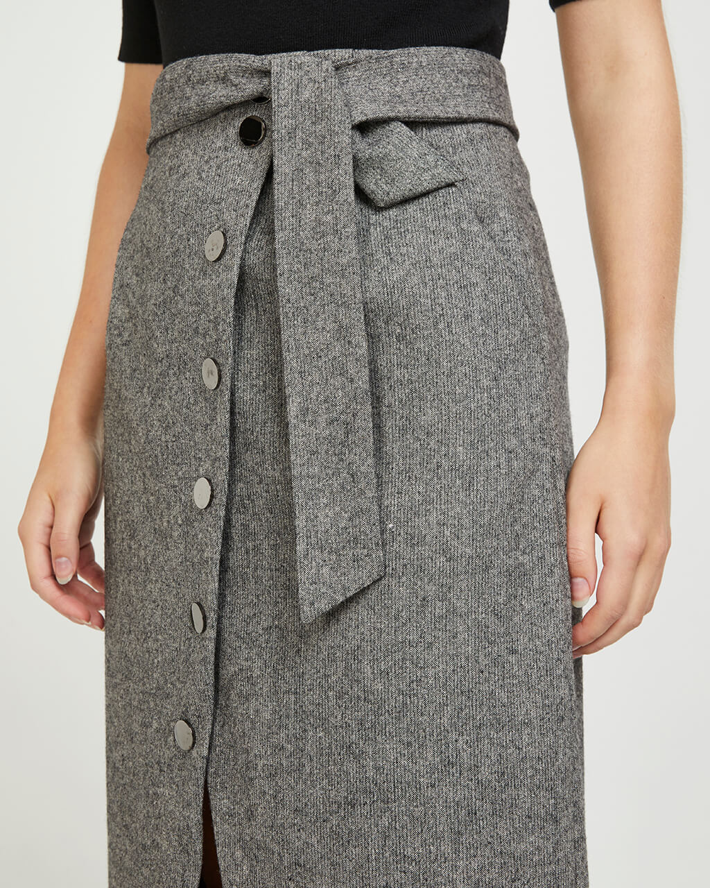 Midi Wool Button Skirt - Dark Grey Heather