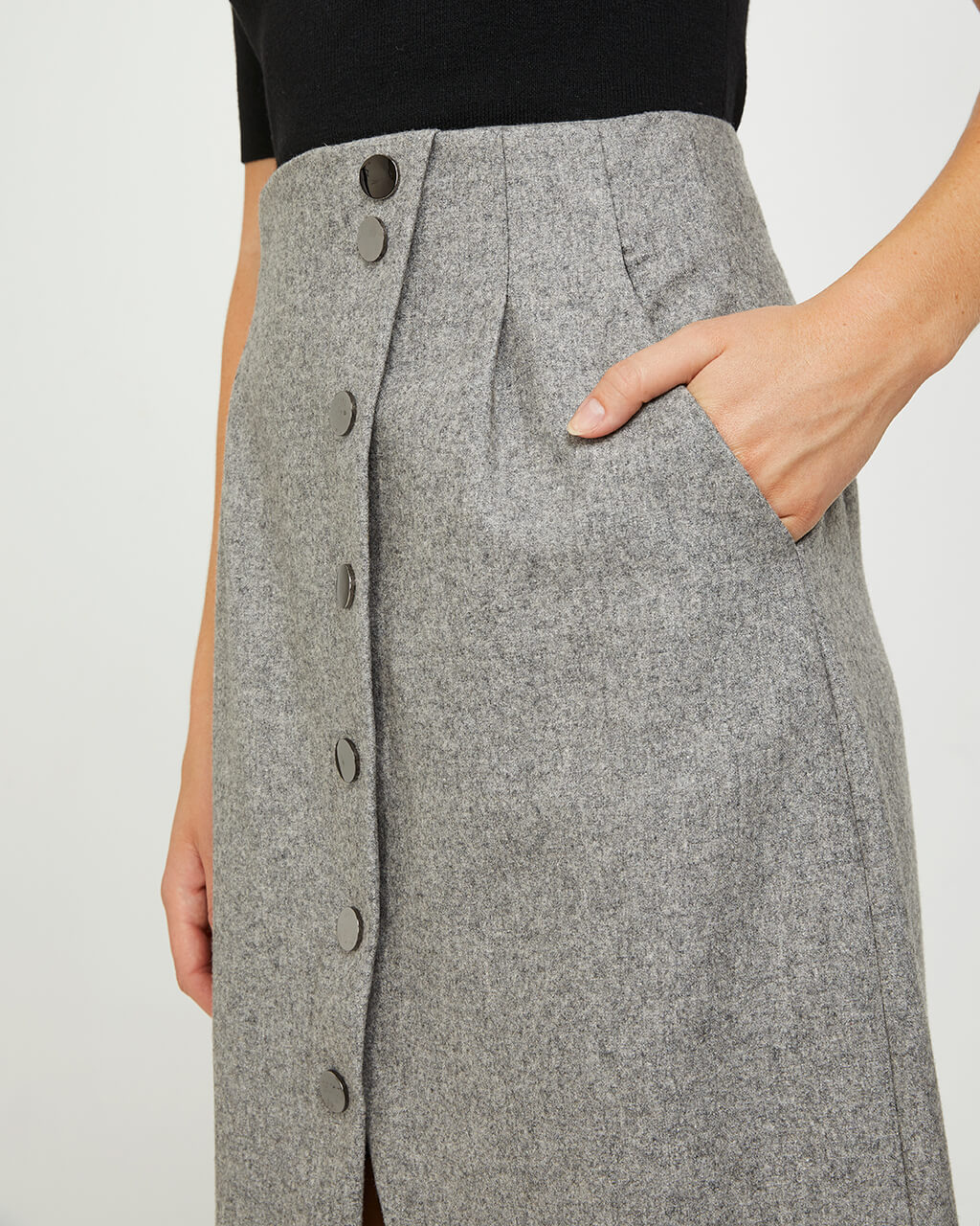 Midi Wool Button Skirt - Grey