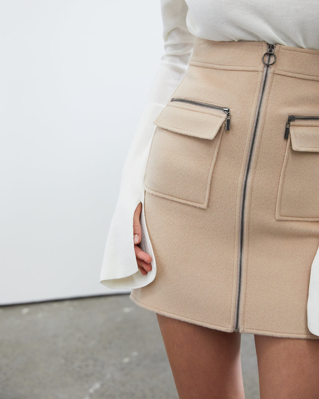 A-Line Mini Wool Skirt - Beige