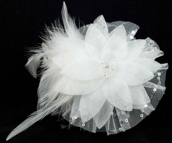 Hair Fascinator Clip with White Feathers, Organza Flower, Crystal Beads & Sequins