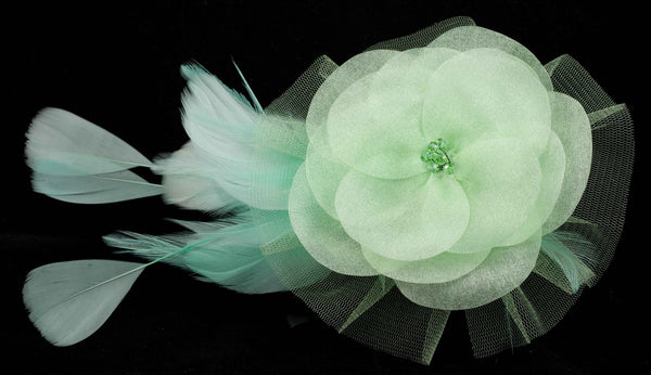 Hair Fascinator Clip w Feathers, Organza Flower and Crystal Beads