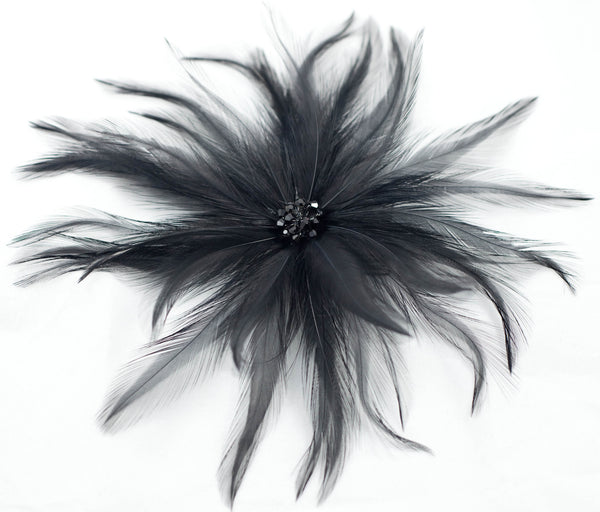 Black Crystal Beads Feathered Fascinator