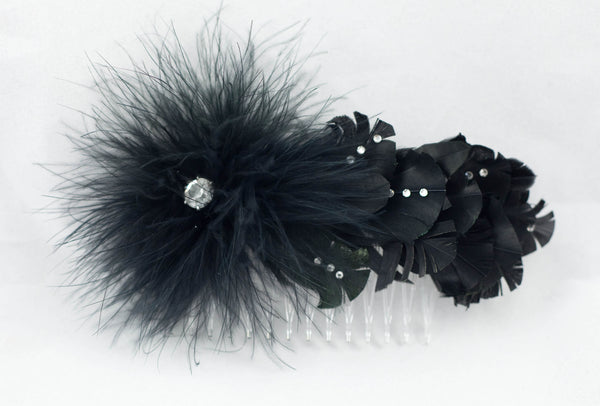Black Feather and Rhinestone Hair Comb / Fascinator