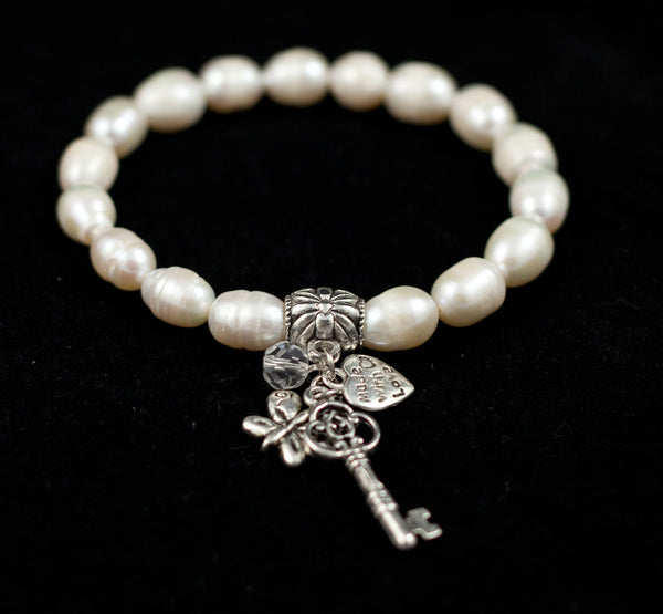 Baroque Fresh Water Pearl Bracelet w Key & Heart Charms