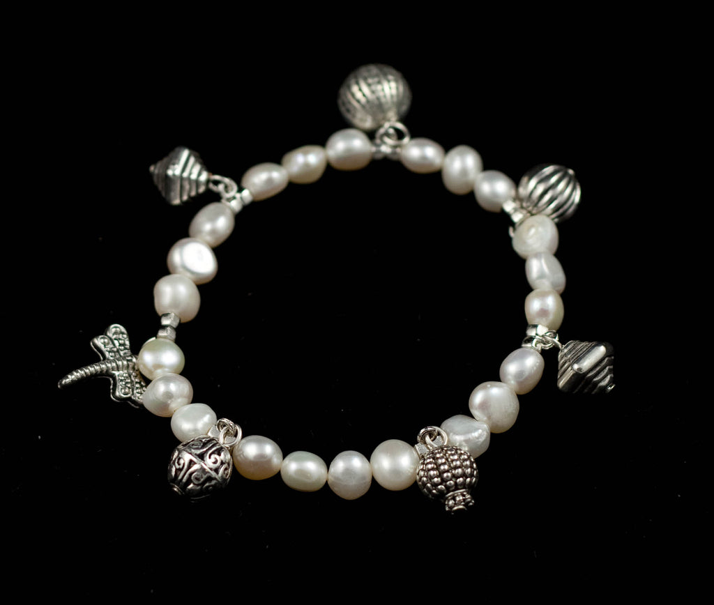 Fresh Water Pearl Bracelet with Charms