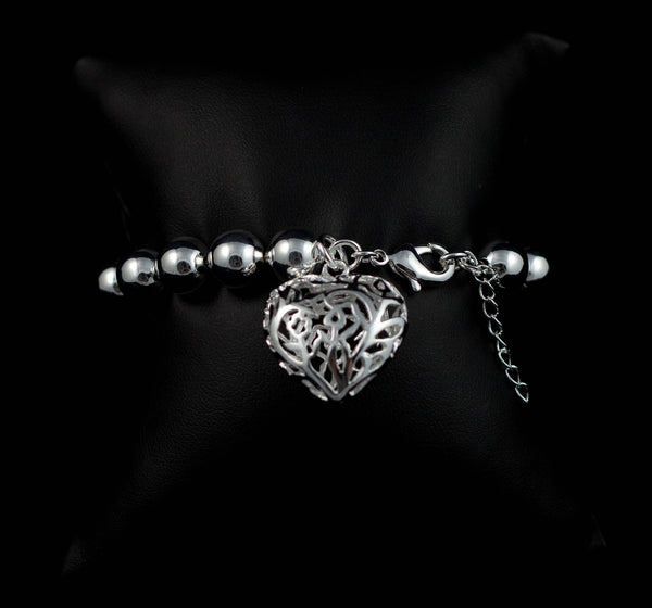925 Sterling Silver Plated Bracelet Hollow Heart Charm