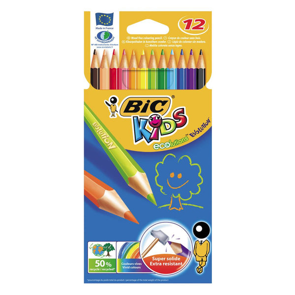 Pack of 12 BIC Kids Coloured Pencils  ECOLUTIONS EVOLUTION
