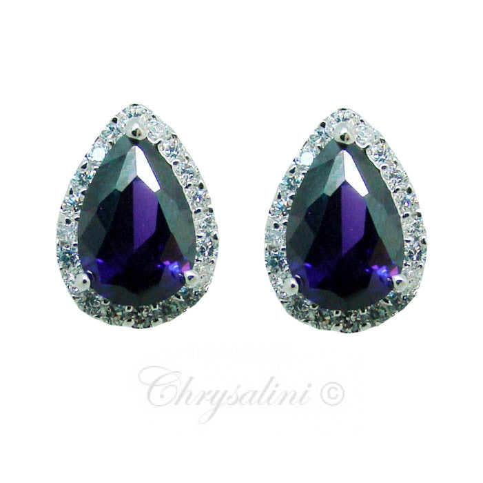 The Great Gatsby Inspired Cubic Zirconia Vintage Stud Earrings in Purple