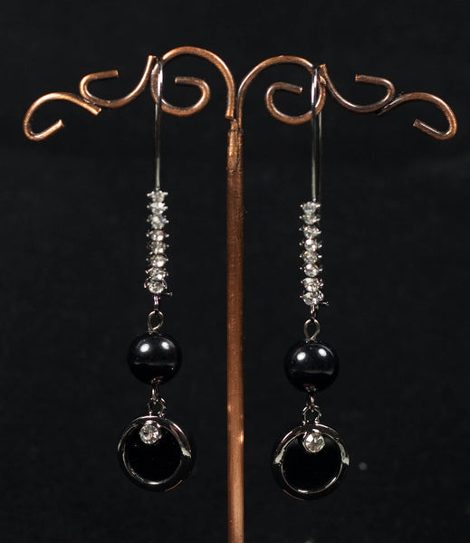 Black Bead and Diamonte Drop Earrings