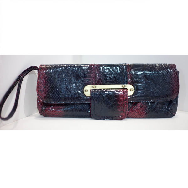 Black Fuchsia Red Clutch Purse Python Skin Look