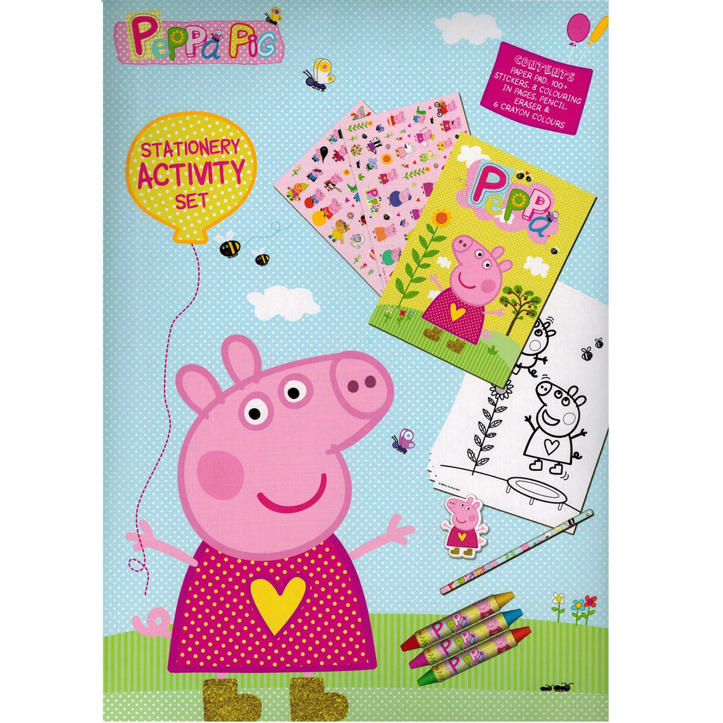 Peppa Pig Stationary Activity Set - Pencil, Eraser, Stickers, Colour in Sheets +