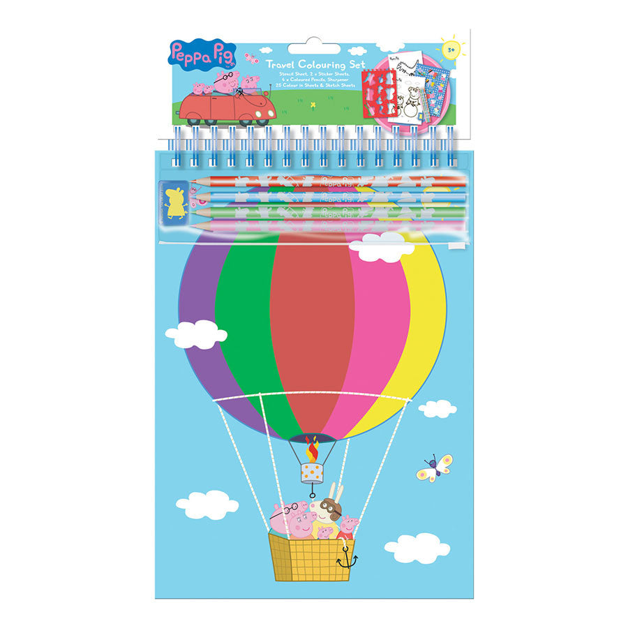 Peppa Pig Travel Colouring Set - Pencils, Stencil, Stickers, Colour in Sheets + More