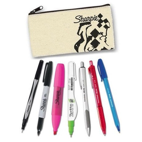 8 Piece Sharpie Student Pencil Case Set - Pens, Highlighter, Marker, Whiteout & More!