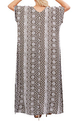 Khaki Resort Kaftan Maxi Dress - ESMERALDA THOMSON Boho Resort Wear