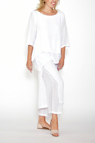 ESMERALDA THOMSON WHITE ROUND NECK LAYERED TOP