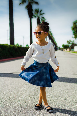 Blue Tie Back Ruffle Top | Girls