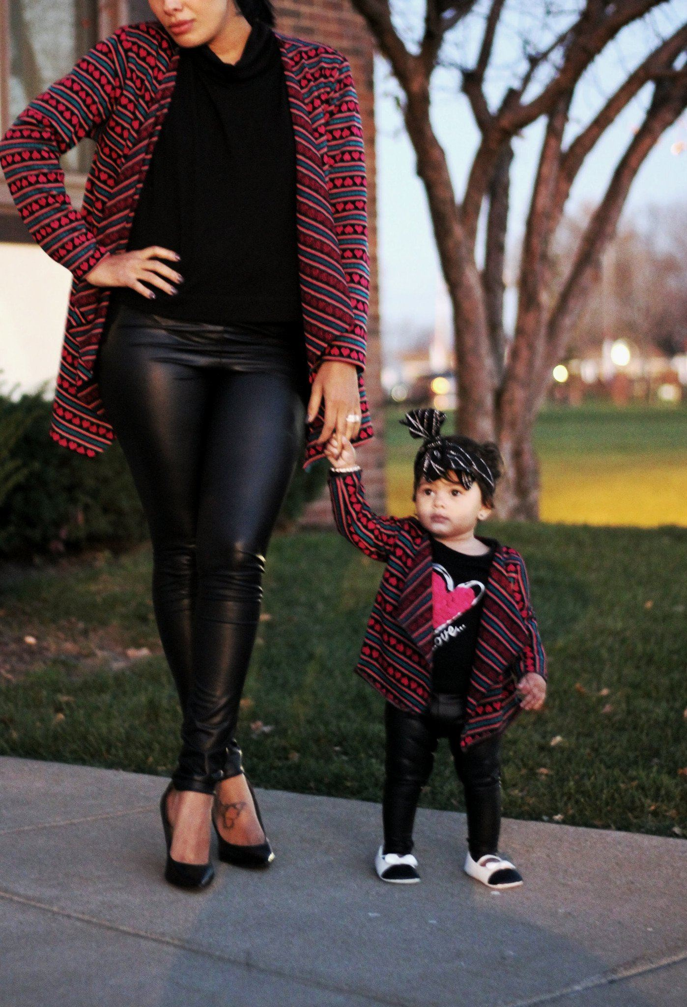 Leggings - Faux Leather Leggings For Kids And Mom
