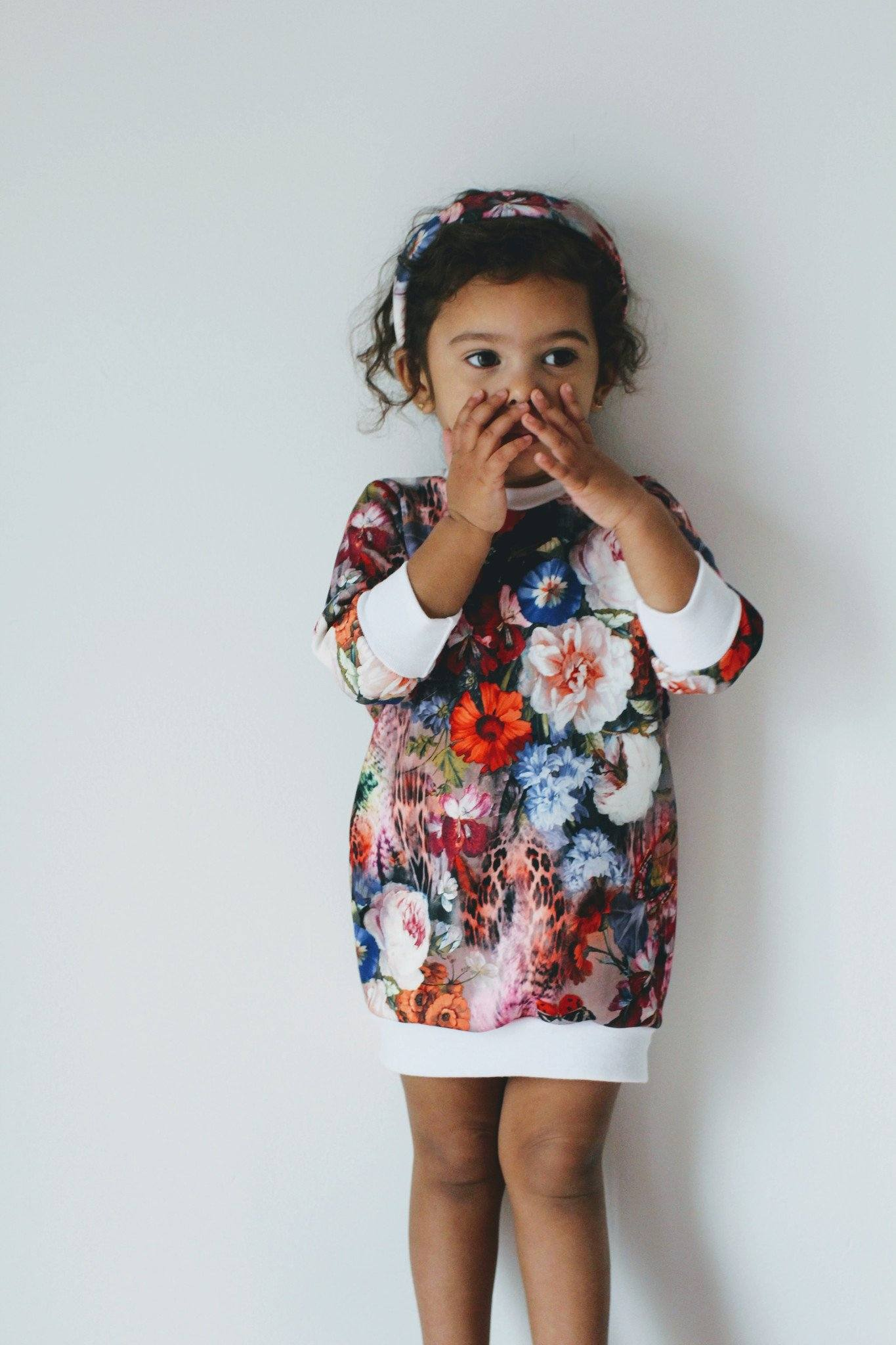 Sweater - Floral Sweater Dress For Toddler Girls