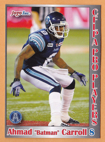 Ahmad Carroll CFL card 2012 Jogo Pro Player #108 Toronto Argonauts  Arkansas Razorbacks  Green Bay Packers