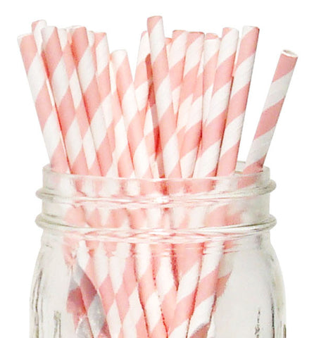 Paper Straws {Blush Stripe}