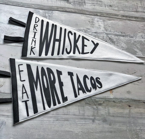 tacos, whiskey, wine and beer - pennant art large