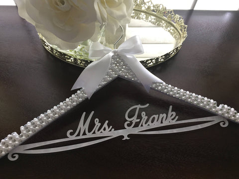 Bride Hanger, Bridal BLING Hanger, Bling Hanger, Rhinestone Wedding Hanger, Personalized Name Hanger, Pearl Wedding Hanger, Sparkle Hanger