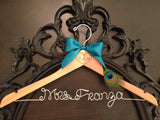 PEACOCK Bridal Hanger / Wedding Hanger / Peacock Wedding / Bride Hanger / Rustic Hanger / Engraved Gift / Peacock Theme