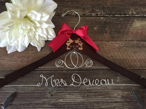 Disney Wedding Hanger, Bridal Hanger, Cinderella Bride Hanger, Mickey & Minnie Wedding, Disney Wedding, Personalized Hanger, Fairytail Bride
