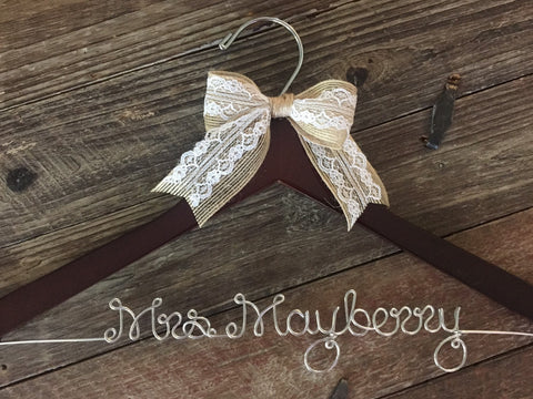 Wedding Hanger / Bridal Hanger / Personalized Custom Hanger / Bride Hanger / Name Hanger / Mrs. Hanger / Personalized Bride Gift