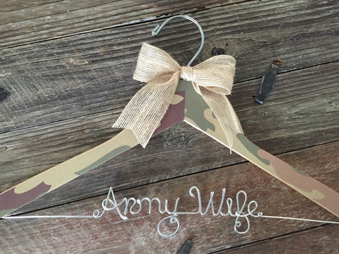 Army Wife, Bridal Hanger, Military Bride, Personalized Hanger, Bride Hanger, Support Our Troops, Wedding Hanger, Military Hanger