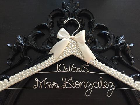 Brides Hanger / Bridal BLING Hanger with Wedding Date / Bling Hanger / Glamorous Wedding Hanger / Personalized Name Hanger / Pearl Hanger