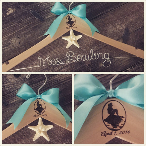 Wedding Hanger, Princess Hanger, Bride Hanger, Mermaid Wedding Hanger, Personalized Hanger, Bridal Hanger, Fairytale Wedding, Princess Theme