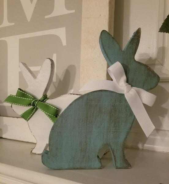 "6"" or 8"" Custom Wood Shelf Bunny - Plush"