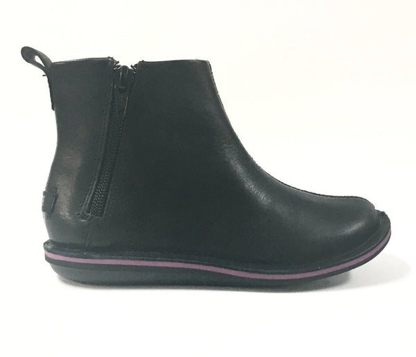 Campers Black Leather Boot with Side Zipper-Tassel Children Shoes