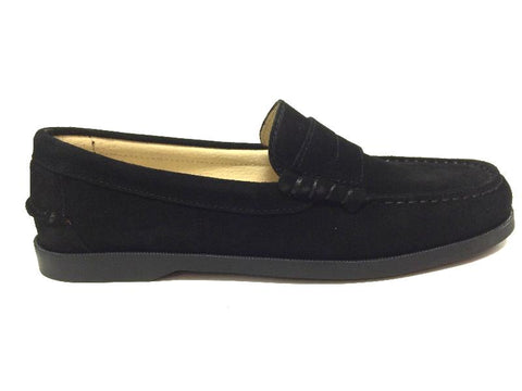 Clarys Black Suede Loafer-Tassel Children Shoes