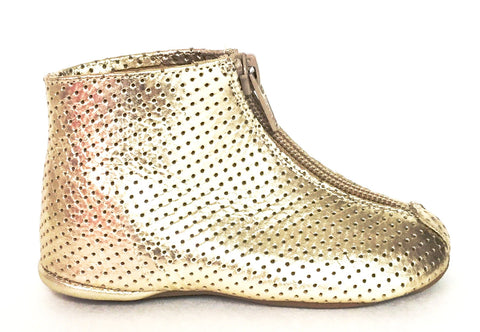 Pepe Gold Perforated Zipper Bootie-Tassel Children Shoes