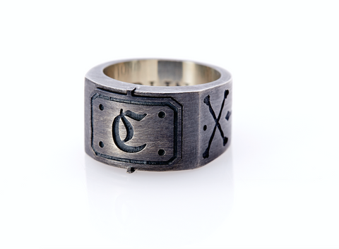 Mens Letter Ring. Mens Custom Ring