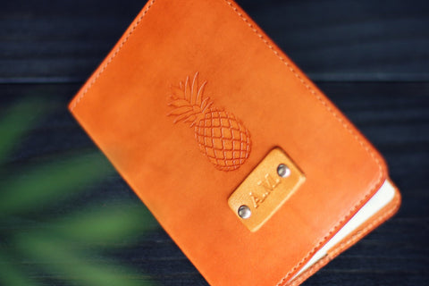 Leather Passport Cover, Pineapple