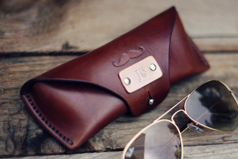 Leather Glasses Case, Mustache
