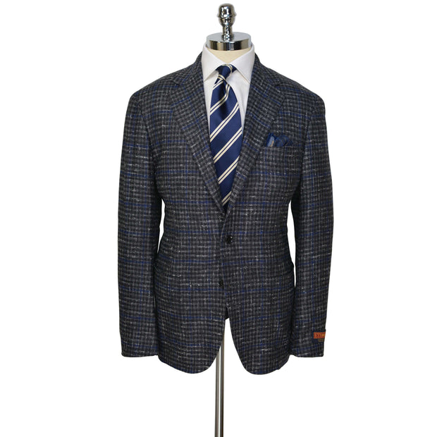 Grey/Charcoal/Blue Check Model 254US Balloon Silk/Cashmere/Wool Sport Coat
