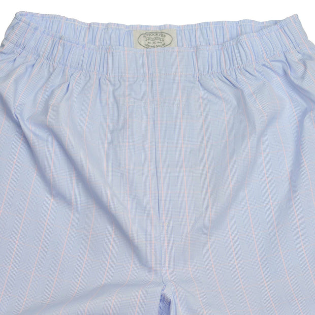 Blue Sky Glen Plaid with Pink Windowpane Broadcloth Boxer Short