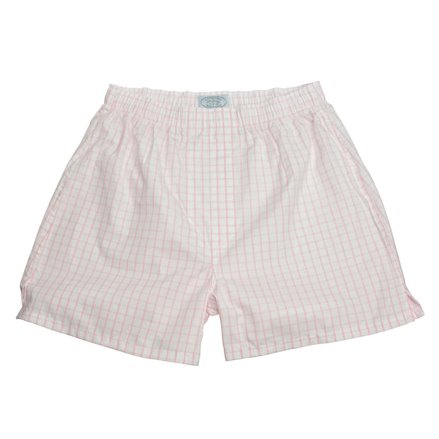 Pink Exploded Graph Check Broadcloth Boxer Short