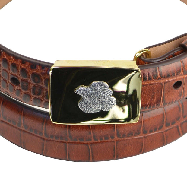 Sterling Quail on Brass Compression Buckle with Brown Calf Belt