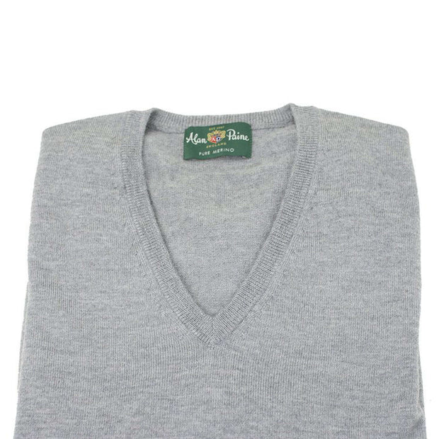 Grey Pearl Merino Wool V-Neck Sweater