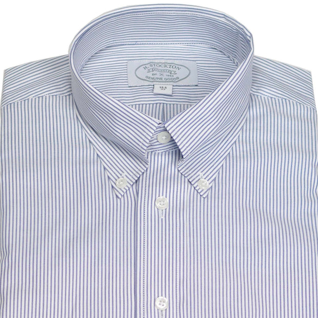 Button-Down Collar Blue Oxford Stripe Dress Shirt