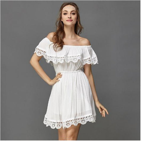 Elegant Vintage Sweet Lace White/Black Dress